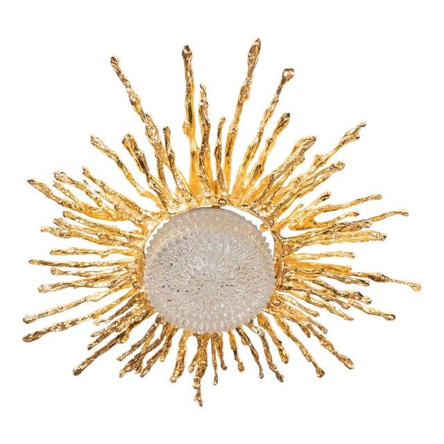 Vintage Claude Boeltz Exploded Bronze and 24-Karat Gold Sunburst Flush Mount Chandelier For Sale
