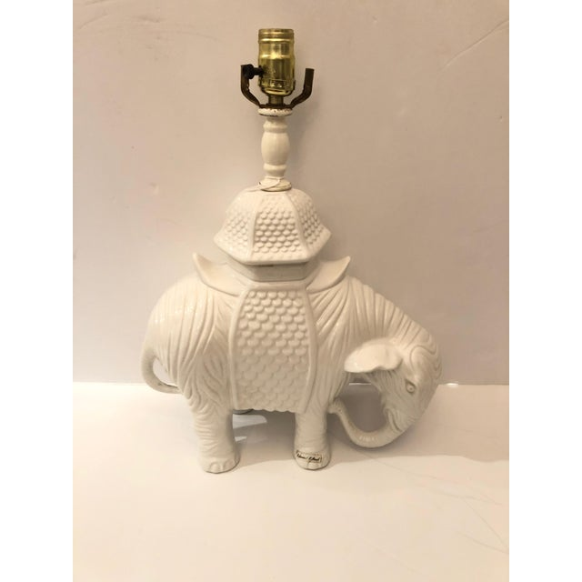 1980s Vintage Blanc De Chine White Ceramic Elephant Table Lamp For Sale - Image 11 of 11