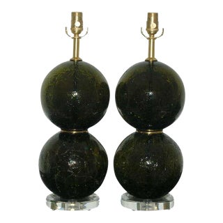 Vintage Murano Craquele Glass Table Lamps Green For Sale
