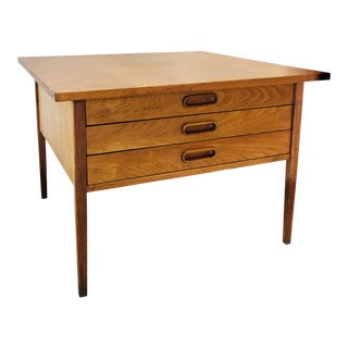Jens Risom Walnut Side Table Coffee Table W/3 Drawers Mid Century For Sale