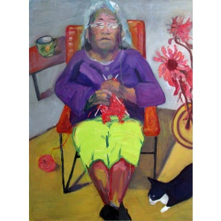 Knitting Contemporary Portrait Painting For Sale