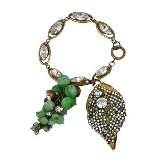 Miriam Haskell Rare Grape Cluster Fob Bracelet For Sale