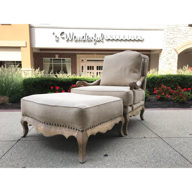 1990s Vintage Country French Bergere Chair and Ottoman Linen For Sale - Image 11 of 11