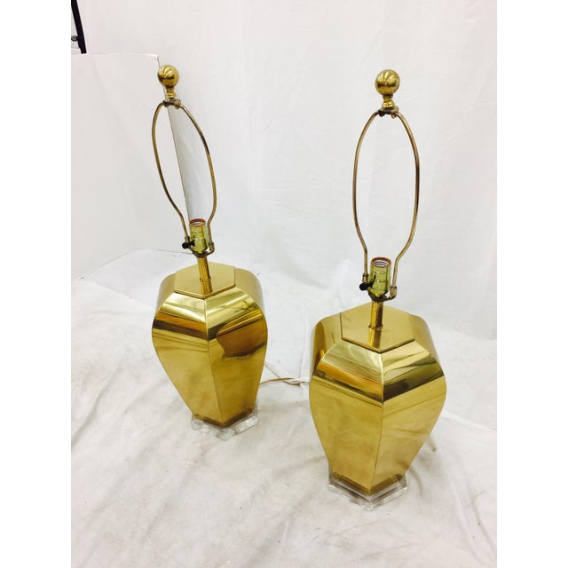 Vintage Brass & Lucite Base Lamps - Image 10 of 10