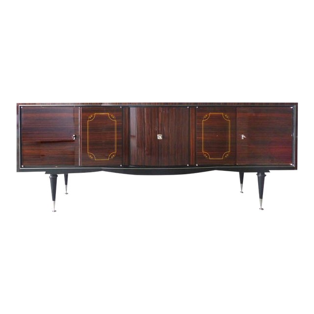 1930s French Art Deco Macassar and Ebony Credenza with Bar Compartment For Sale