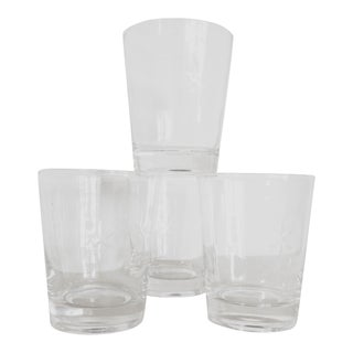 Tall Mid-Century Starburst Etched Crystal Double Old Fashion Glasses - Set of 4 For Sale
