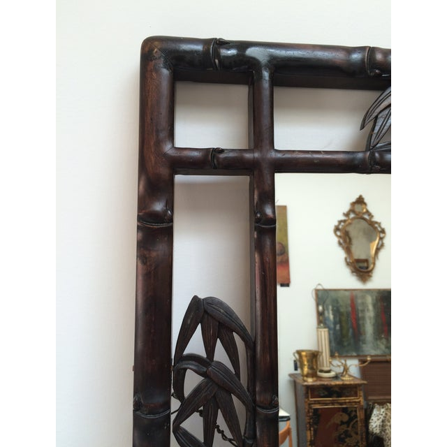 Chinoiserie Faux Bamboo Carved Wood Mirror For Sale - Image 3 of 8