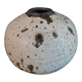 Otto & Vivika Heino Sand Spotted and Natural Glaze Stoneware Spherical Vessel For Sale