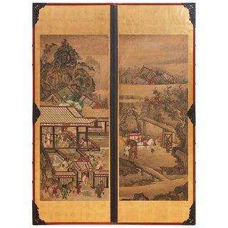 Pair of Japanese Scrolls Mounted as Panels For Sale