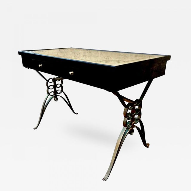 Art Deco 1940s Raymond Subes Awesome Quality Wrought Iron Base Desk With 2 Drawers For Sale - Image 3 of 3