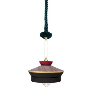 Contardi Calypso Martinique Pendant Light in Moss Green and Black For Sale