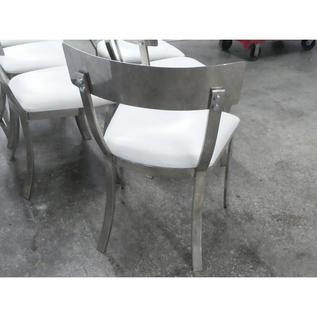Post Modern Chrome / Aluminum Klismos Dining Chairs - Set of 6 For Sale In Miami - Image 6 of 13