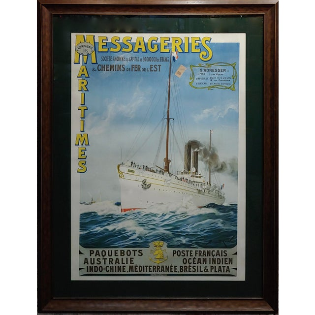 Abel Brun -Messageries Maritimes-Original 1907 Steam Boat French Poster under glass and professional framed frame size 40...