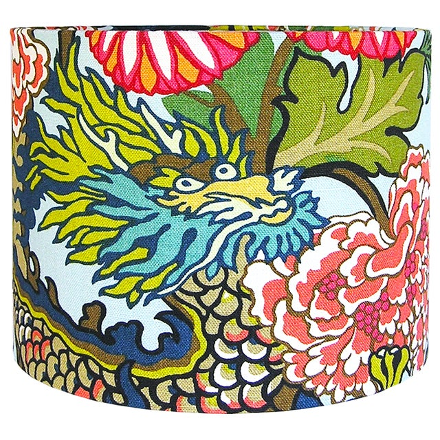 Asian Custom Aqua Floral Dragon Drum Lamp Shade For Sale - Image 3 of 5