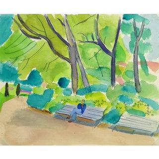 Madeleine Scali, Vintage French Watercolor - Paris Park For Sale