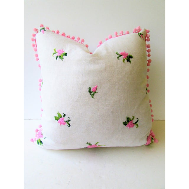 Vintage Pink Rose Embroidery Pillow Cover - Image 3 of 6