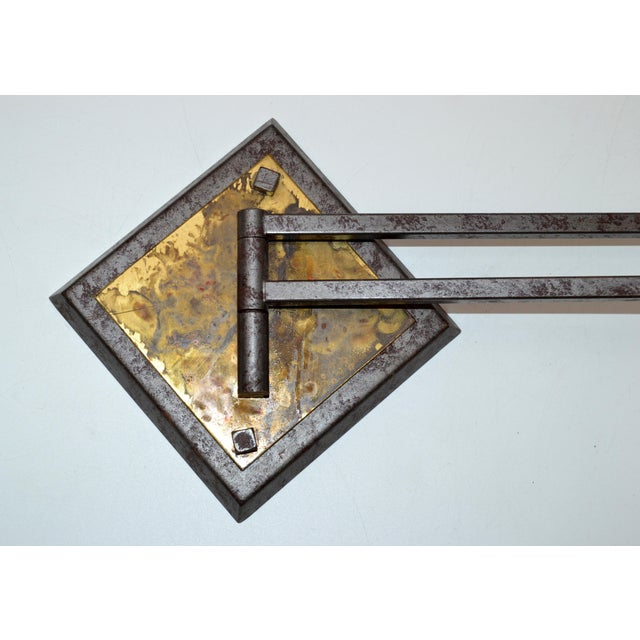 French Mid-Century Modern Metal & Brass Swing Arm Sconces, Wall Lights - Pair For Sale - Image 10 of 13