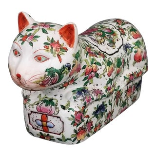 Vintage Chinese Imari Hand Painted Cat Statue Sculpture Figurine - Flowers Butterflies and Fruit- Oriental Palm Beach Boho Chic Mid Century For Sale