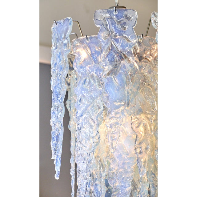 """Glass """"Ghiacciolo"""" Murano Glass Iridescent Chandelier For Sale - Image 7 of 11"""