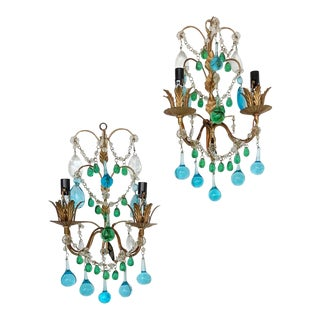 Pair of Vintage Italian Beaded Sconces Blue & Green Drops