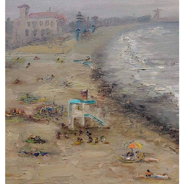 R. S. Karlin - Santa Monica Beach - 1960s Mid Century Oil Painting Mid Century For Sale - Image 4 of 11