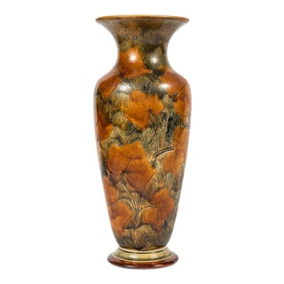 1900s Tall Vase With Leaves For Sale