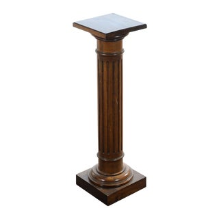 Antique Carved Colonial Walnut Pillar Pedestal