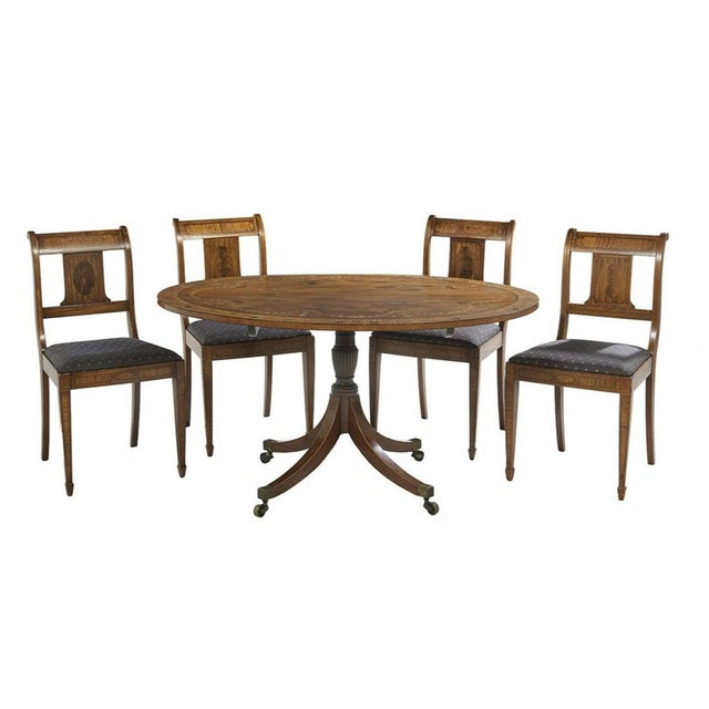 Neoclassical Inlaid Oval Table & 4 Chairs - 5 Pieces For Sale - Image 10 of 10