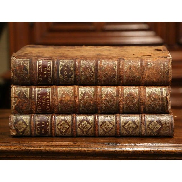 17th Century French Leather Bound Decorative Books Dated 1692-1700 - Set of 3 For Sale - Image 4 of 11