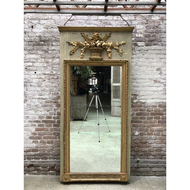 A North Italian Gilt Wood and French Olive Painted Trumeau Mirror, 18th Century For Sale - Image 6 of 10