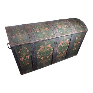 19th Century Folk Art Hand Painted Swedish Wedding Trunk For Sale