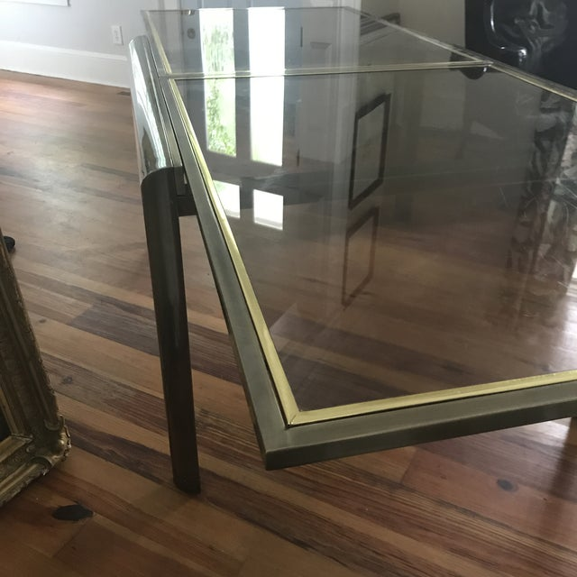 Brass Mid-Century Design Institute of America Glass & Bronzed Modern Dining Table For Sale - Image 7 of 7