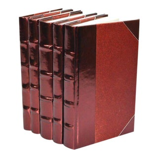 Metallic Collection Sangria Red Books - Set of 5 For Sale
