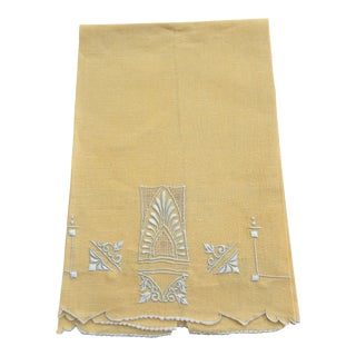 Traditional Yellow Apricot Embroidered Madeira Linen Hand Towel For Sale