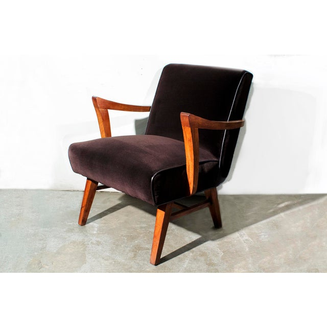 Wormley for Dunbar Style Brown Micro Velvet Armchair - Image 2 of 6