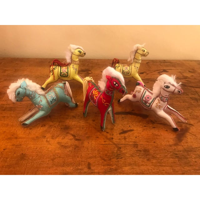 1970s Children's Embroidered Satin Horse Christmas Ornaments - Set of 5 For Sale - Image 10 of 10