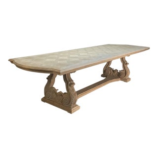 Grand French Baroque Parquet Stripped Oak Banquet Table For Sale