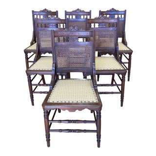Early 20th Century Wood + Caned Side Chairs - Set of Six For Sale