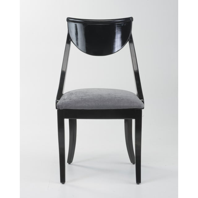 Hollywood Regency Klismos Dining Chairs Pietro Constantini Ello Black Lacquer Unmarked 1970s a Set of Six For Sale - Image 3 of 13