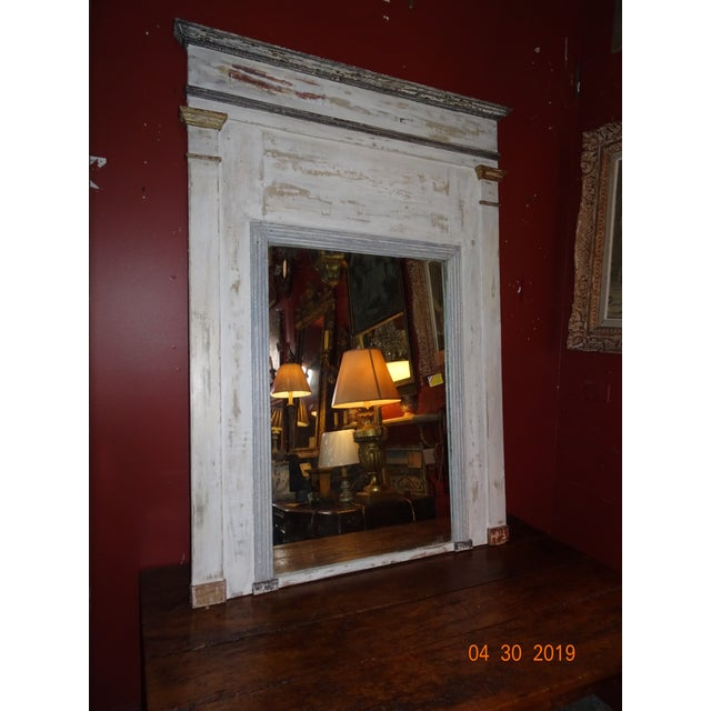 Great mirror Directoire style French 19th century painted in white and gray.