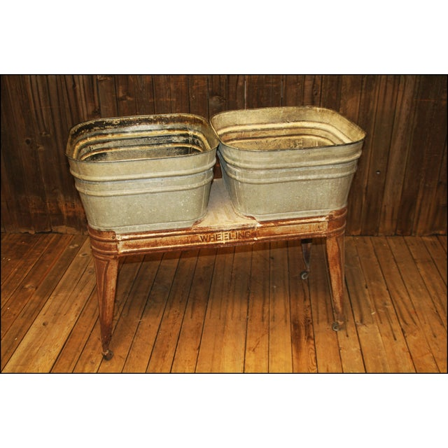 Vintage Wheeling Galvanized Double Wash Tub Stand Chairish