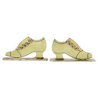 Antique English Shoe Fireplace Ornaments, Pr For Sale