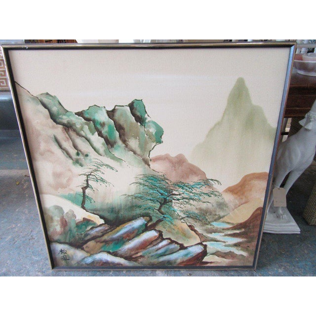 Japanese Landscape Watercolor Painting - Image 6 of 6