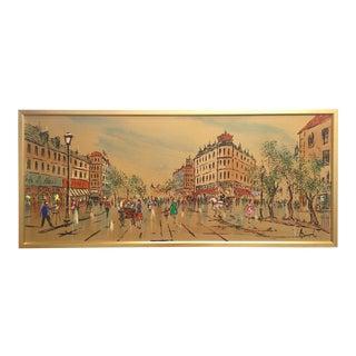 """Vintage Mid-Century Modern """"Paris Street Scene"""" Custom Framed Large Original Oil Painting"""