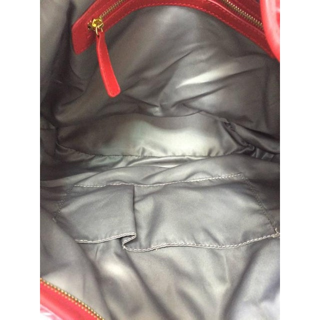 Valentino Large Red Leather Ruffle Shoulder Bag For Sale - Image 9 of 11