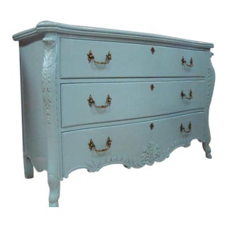 Vintage High Gloss Sky Blue Chest of Drawers For Sale