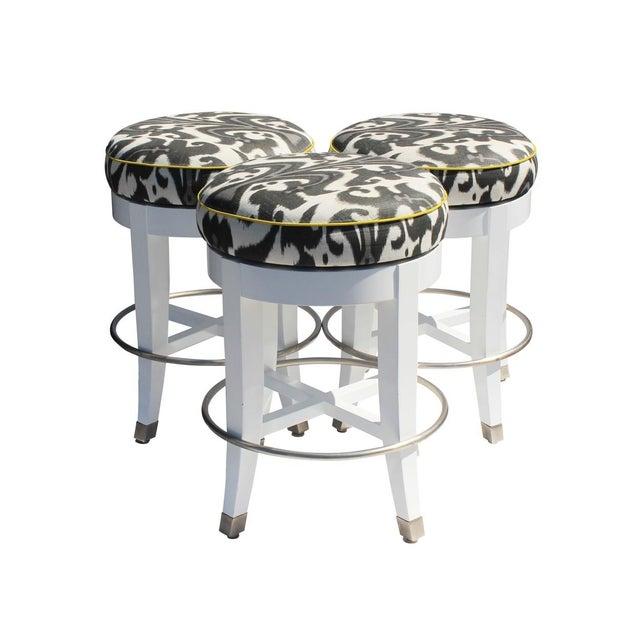Upholstered Swivel Bar Stools - Set of 3 For Sale