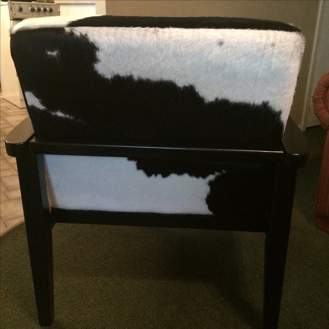 Mid-Century Genuine Cowhide Accent Chair & Ottoman - Image 6 of 11