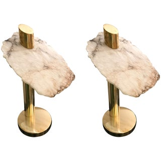 Contemporary Pair of Brass Alabaster Totem Lamps, Italy For Sale