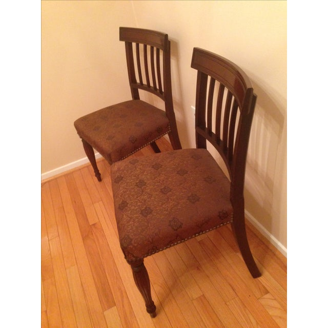 Traditional Cherry Wood Side Chairs - A Pair For Sale - Image 3 of 8